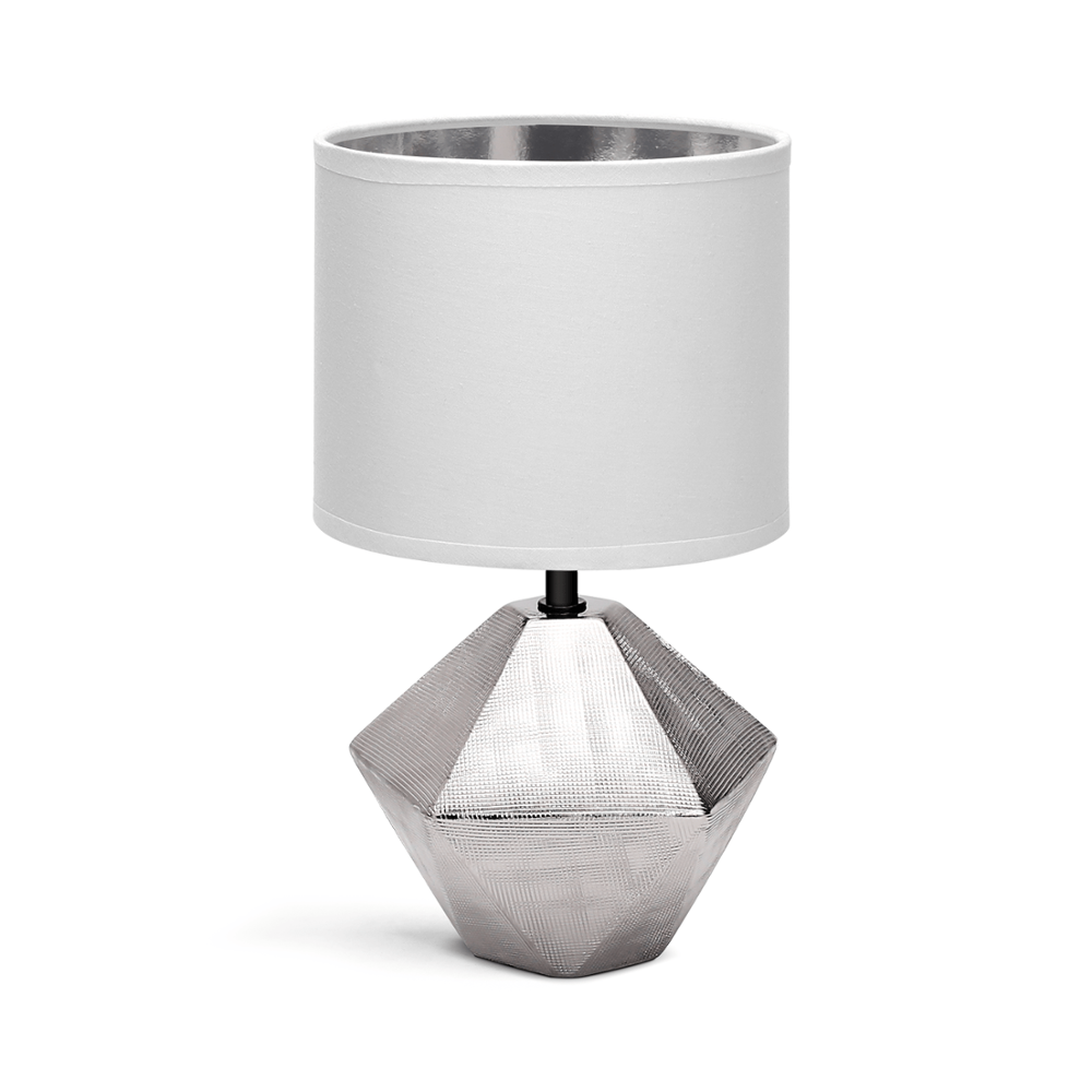 CERAMIC TABLE LAMP E14 13 WHITE LAMPSHADE SILVER BASE