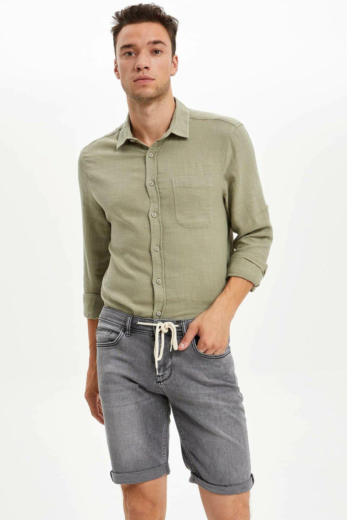 DeFacto Men Fashion Casual Style Denim Pants Male Slim Straigh Jeans Elastic Waist Lace Up Pants Summer L0178AZ19HS