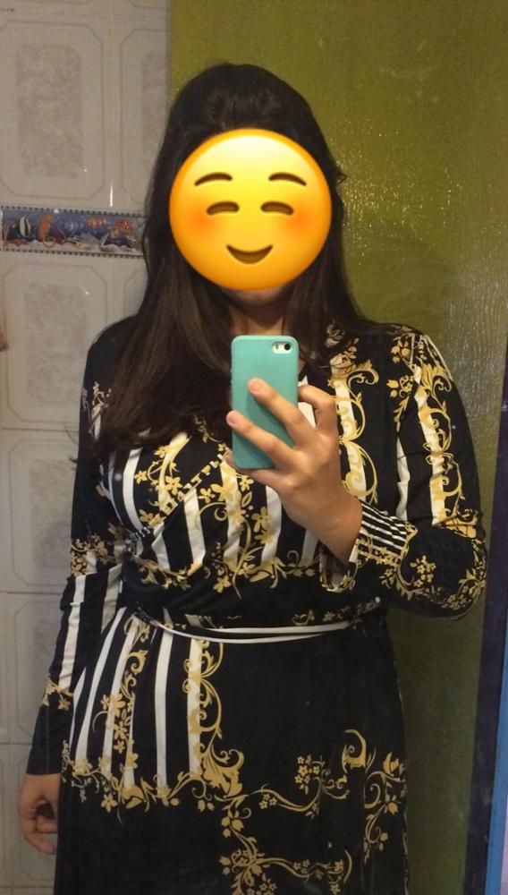 Plus Size Black Mixed Print Striped Casual Dress Women Spring Fashion Long Sleeve A Line High Waist Maxi Dress photo review
