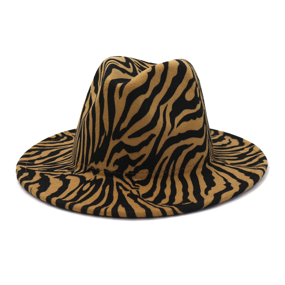 2021 Sombrero New Wool Winter Hat Round Felt Hat Big Brim Women Spring Autumn Zebra Stripe Flat Woolen Top Fedora Hat Gorras