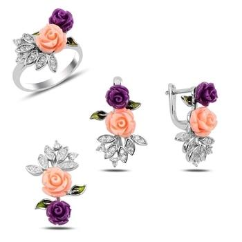Silver 925 Sterling Zircon Cubic Zirconia Rose Set