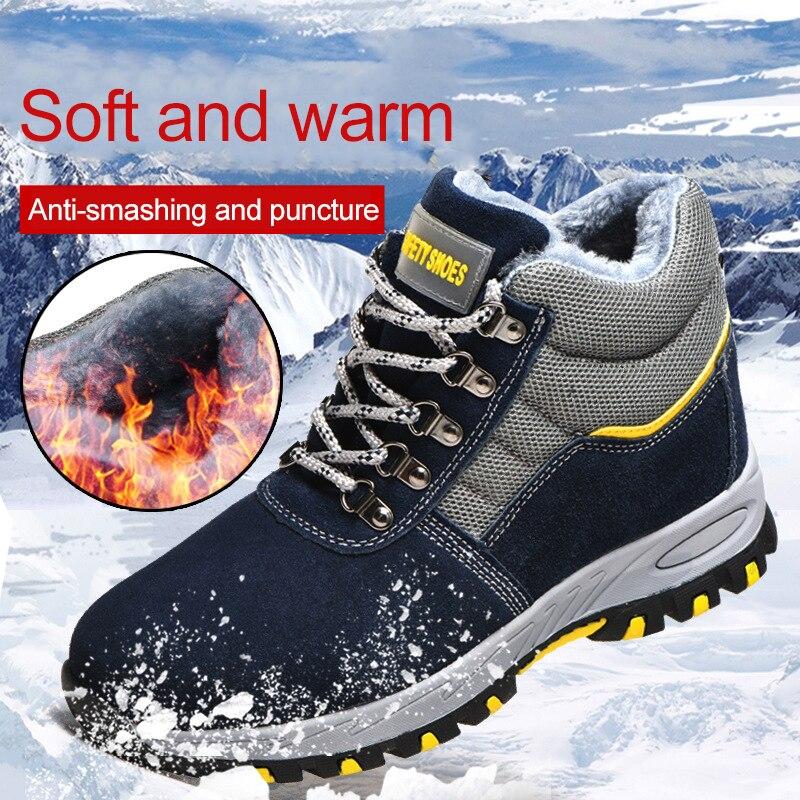 Зимние безопасные рабочие ботинки со стальным носком; рабочие мужские ботинки; теплые бархатные ботинки с защитой от холода; нескользящая о...
