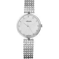 Relógios femininos em uma pulseira de aço com luz solar de vidro mineral|Relógios femininos|   -