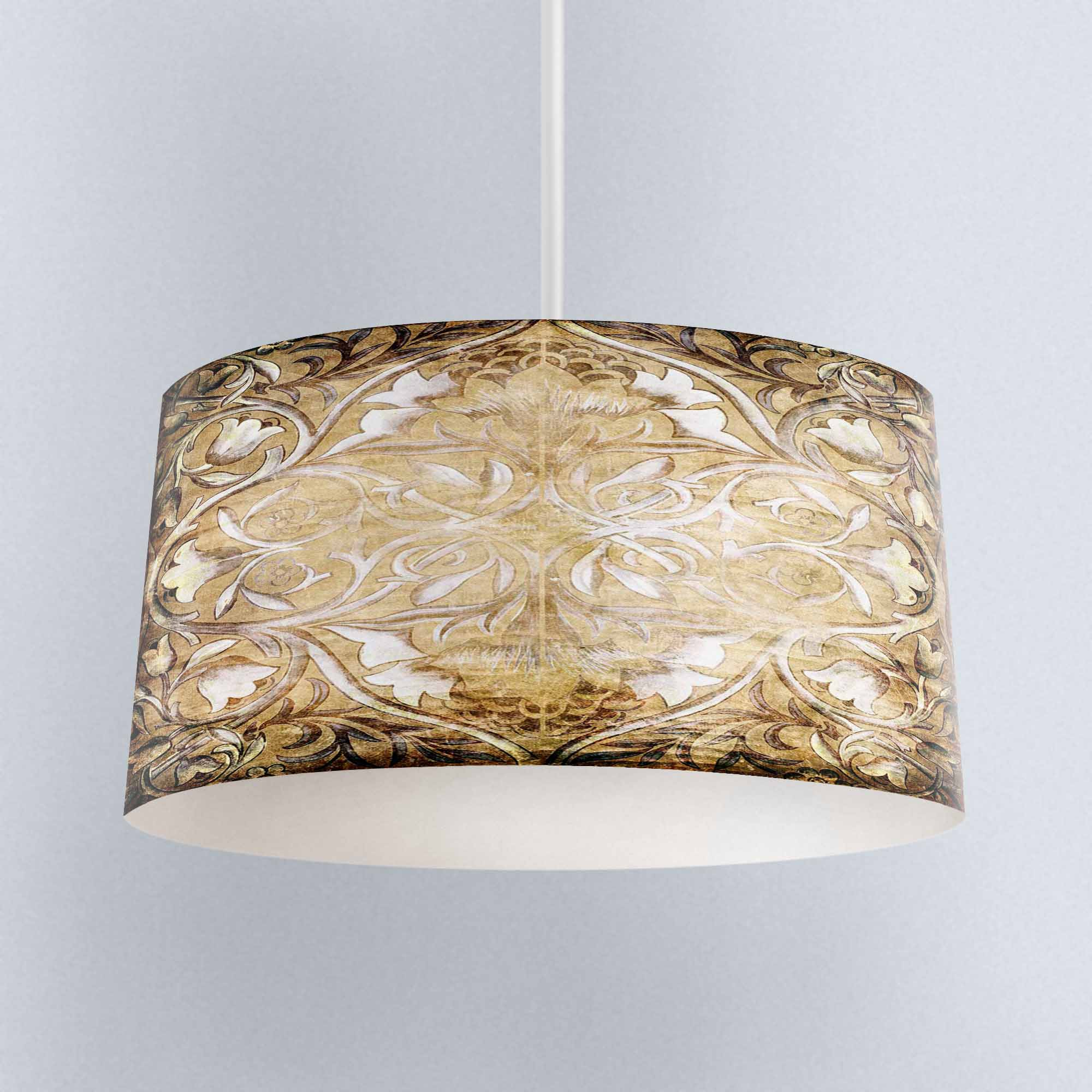 Else Yellow Brown Ottoman Ethnic Floral Digital Printed Fabric Chandelier Lamp Drum Lampshade Floor Ceiling Pendant Light Shade