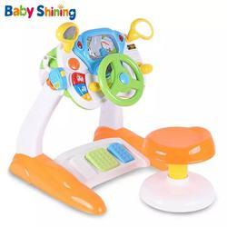 Детская сияющая игрушка с имитацией вождения, Детская моделирующая консольная игрушка, от 2 до 6 лет, аналоговая консоль рулевого колеса, гол...