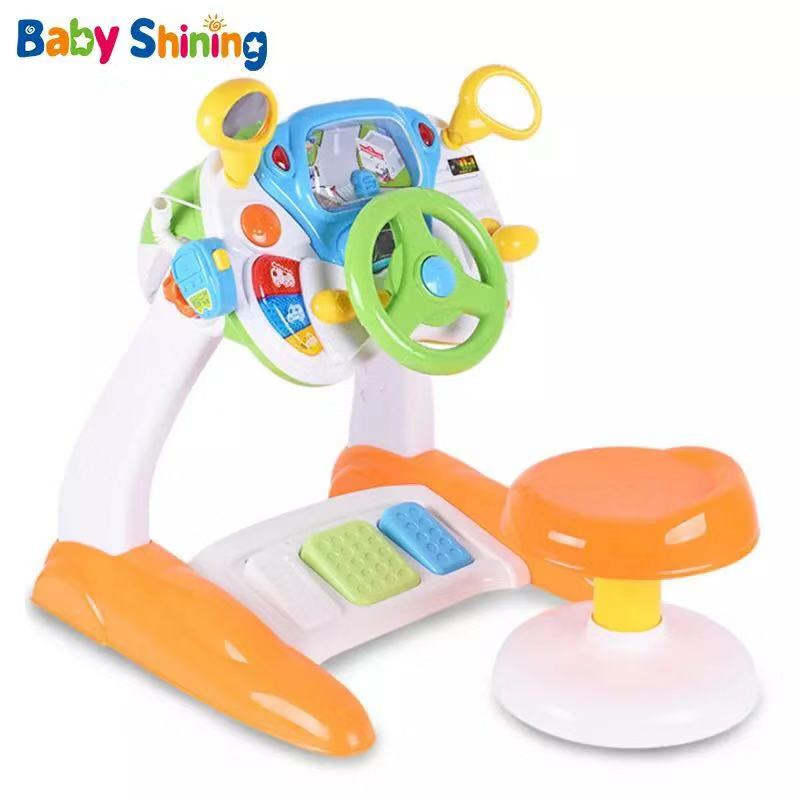 Baby Shining Simulated Driving Toy Baby Simulation Console Toy 2-6 Years Analog Steering Wheel Console Puzzle Toy For Kids Gift
