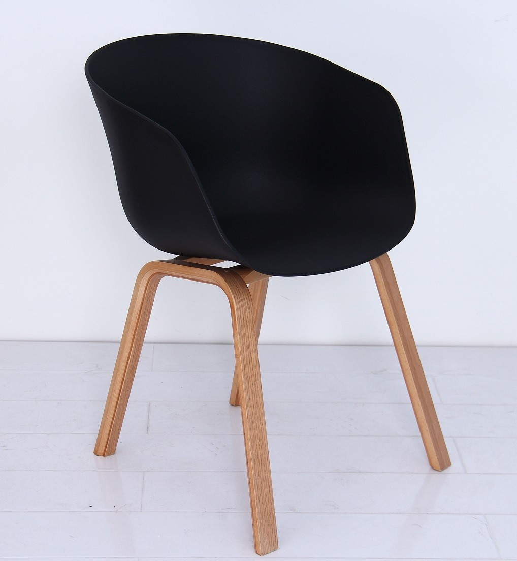 Armchair BARROW, Wood, Black Polypropylene