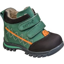 Captain Junior Men 'S Leather Baby Shoes Boots Green Winter Snow Boat Orthopedic Soft Flexible Light Anti-Slip Soles Antibacterial