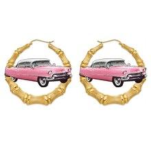 Women's Metallic Pink convertible classic lowrider car hoop bamboo earrings