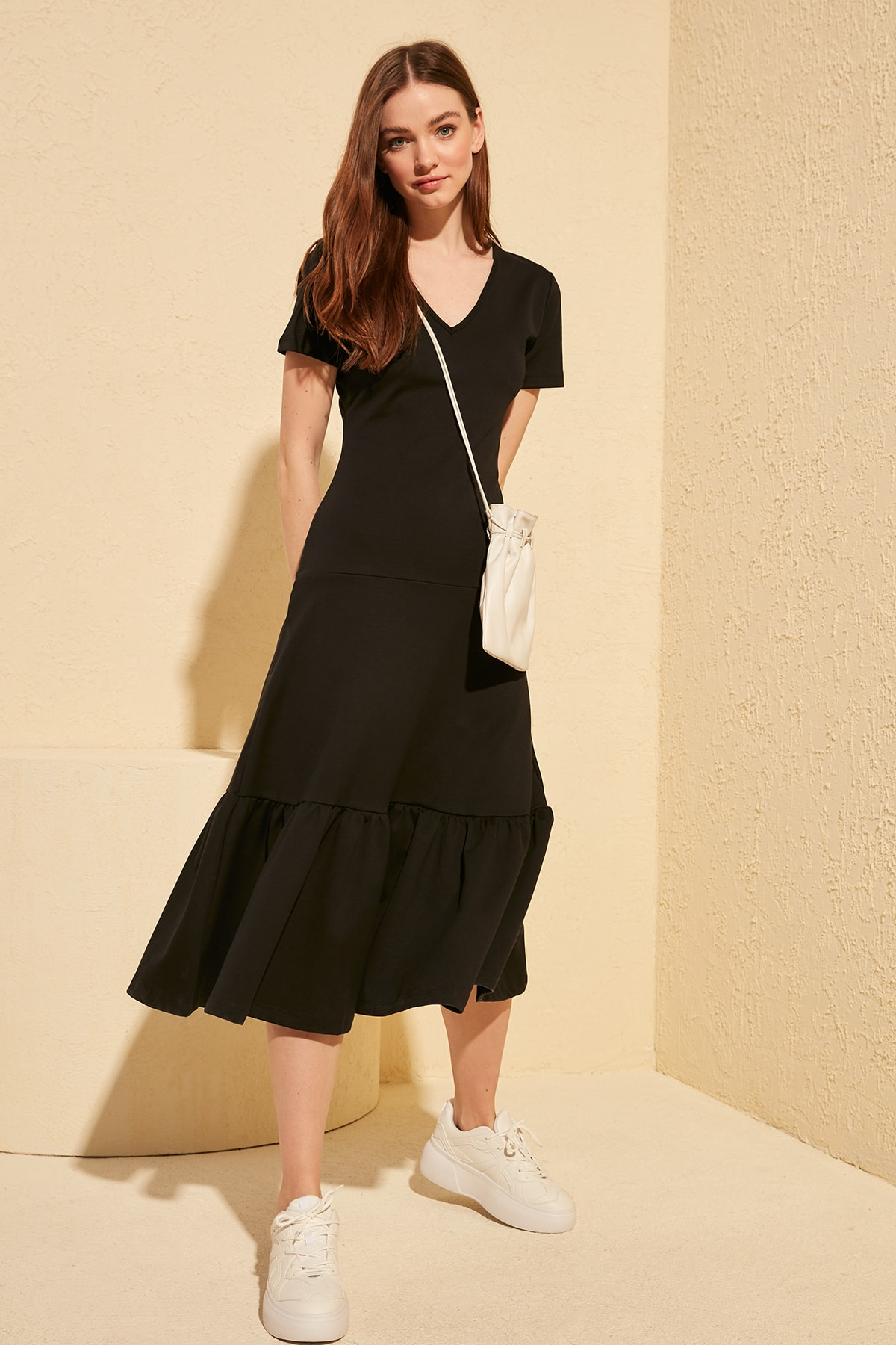 Trendyol Flounces Knitted Midi Dress TWOSS20EL1594 Dresses    - AliExpress