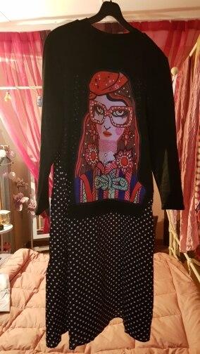 Autumn Winter Women Black Casual Cartoon Dress Polka Dots Print Long Sleeve Lady Cute Loose Midi Dress Robe Femme photo review