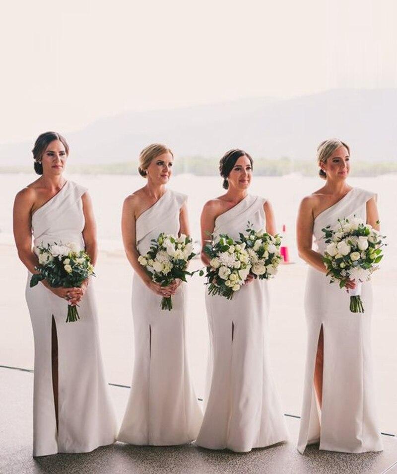 One Shoulder Split Front Satin Sheath Bridesmaid Dress