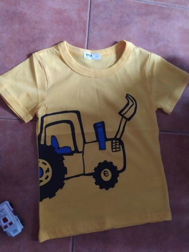 2-10Y Cartoon Print Baby Boys T Shirt for Summer Infant Boy Excavator T-Shirts Short Sleeves Kids Clothes Toddler Cotton Tops photo review
