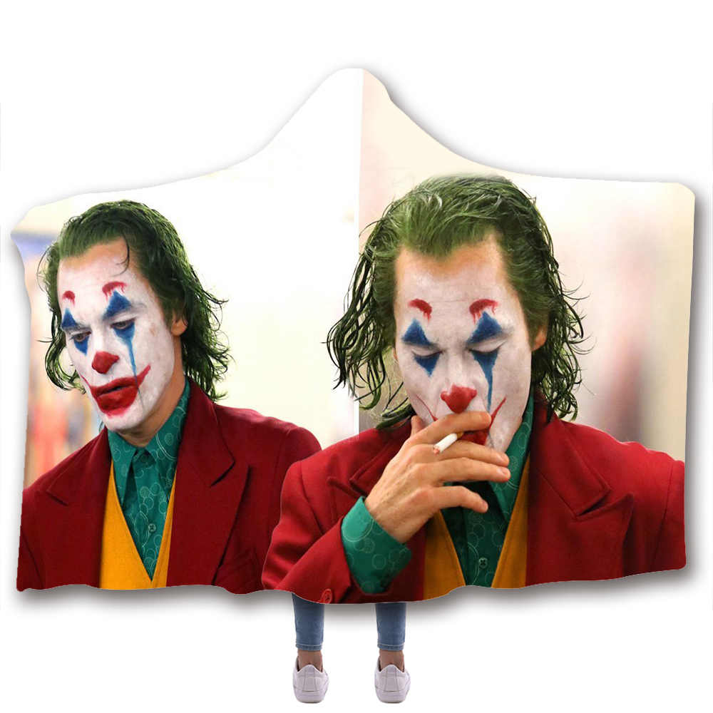 Movie Clown Joker Printed Plush Hooded Blanket For Adults Kid Warm Blankets Double layer Fleece For Beds Wearable Throw Blankets