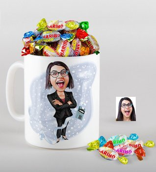 Personalized Women 'S Accountant Caricature Of mug And Haribo Fruitbons Candy Gift Seti-2