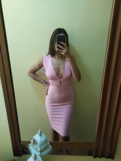 Ocstrade Summer Women Cut Out Bandage Dress Bodycon Sexy Double Deep V Neck Pink Bandage Dress Rayon Evening Party Dress photo review