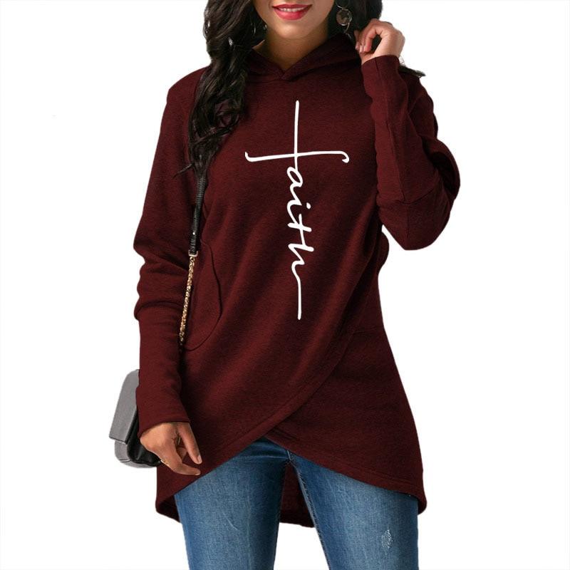 Womens Long Sleeve Hooded Top Pull Femme Warm Hoodies Asymmetric Hem Wrap Lady Hoodie Sweatshirt Jumper Tops