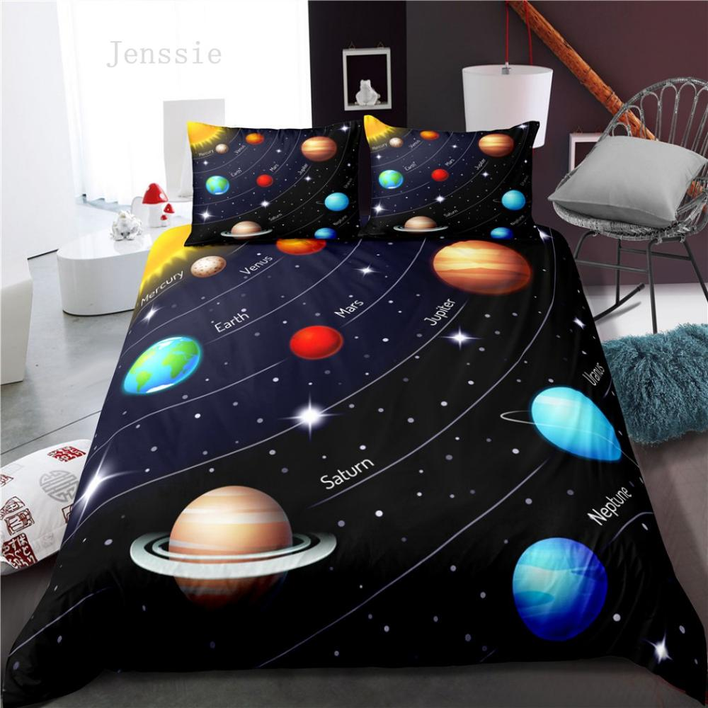 Planet Space Bedding Sets Cartoon Universe Duvet Cover Bedding Set with Pillowcases King Queen Bed Linen Bedclothes 2020 New