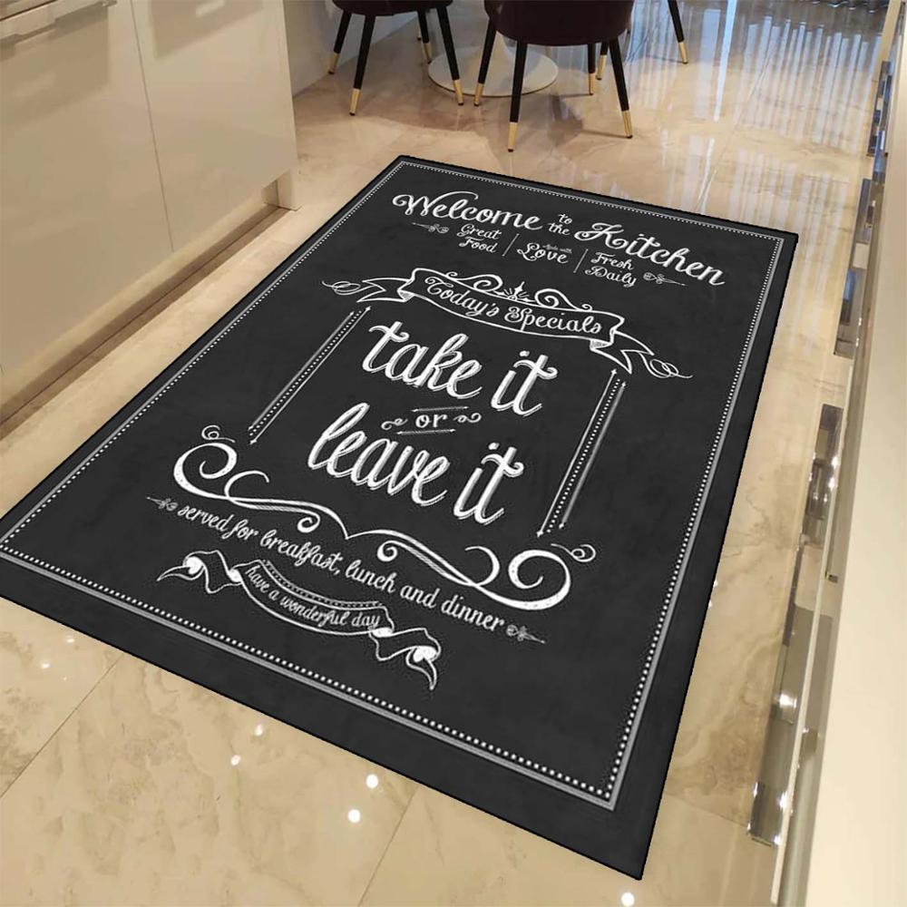 Else Black White Kitchen Rules Take It Or Leave It  3d Print Non Slip Microfiber Kitchen Modern Decorative Washable Area Rug Mat