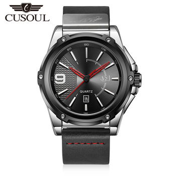 Cusoul Men Fashion Watches Quartz Watches 100M Waterproof Casual Wristwatches Simple Style Calendar Watches Leather Strap Watch цена 2017