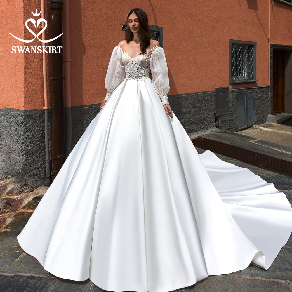 Swanskirt Satin A-Line Wedding Dress 2019 Fashion Appliques Detachable Long Sleeve Bridal Gown Princess Vestido De Noiva UZ10