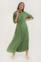 Finn Flare платье-макси свободного кроя, с короткими рукавами и застежкой спереди, коллекция лето-2020