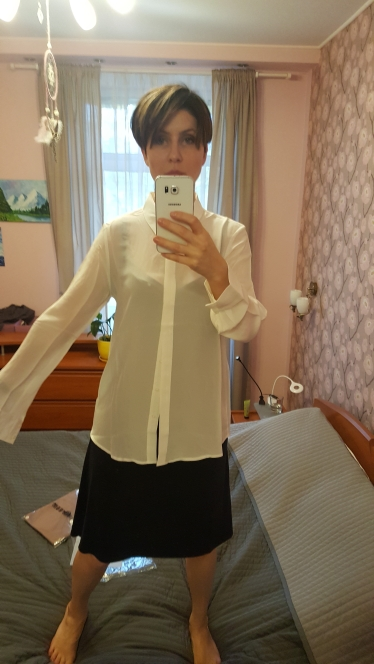 Women Silk Blouse 100% Real Silk Crepe Solid Long Sleeve Blouses Basic Button Office Lady Shirt White Blusas Femininas photo review