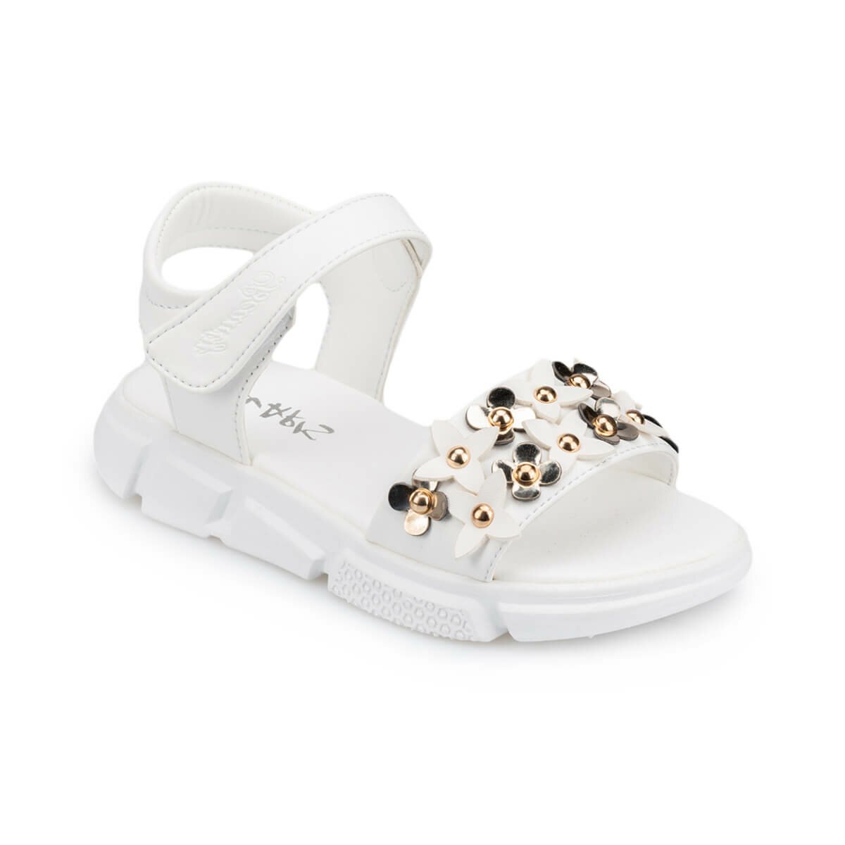 FLO 91.511264.F White Female Child Sandals Polaris