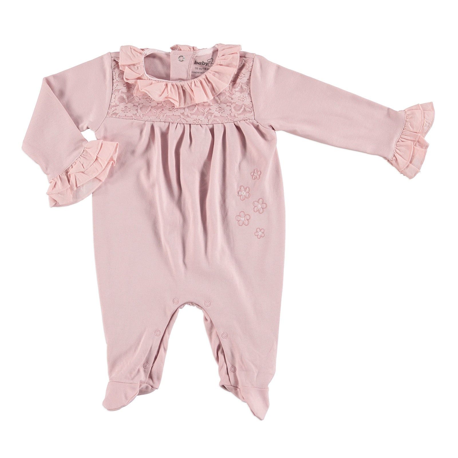 Ebebek BabyZ Baby Lacy Detail Footed Romper