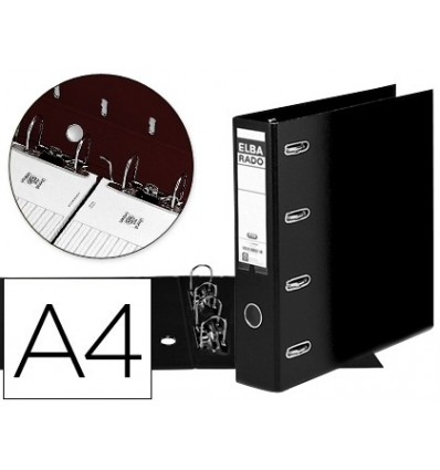 LEVER ARCH FILE ELBE CARTON LINED DIN A4 BLACK LOIN 75 MM RADO WITH DOUBLE MECHANISM