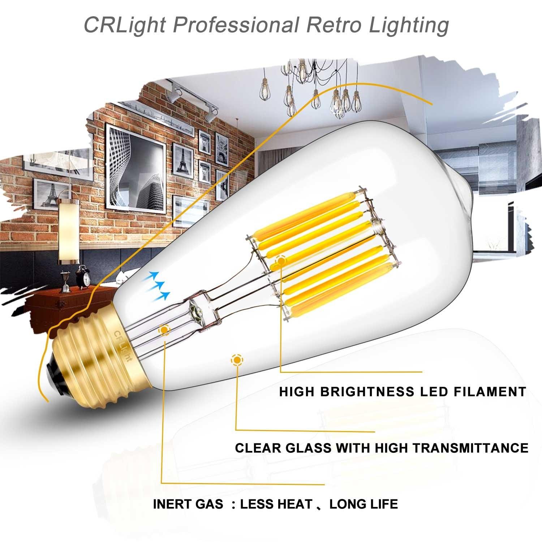 Светодиодный лампы 3200K мягкий белый, 700LM 70 ватт эквивалент E26 Средний База, Винтаж ST64 прозрачный Стекло Светодиодный лампочки накаливания, уп... - 2