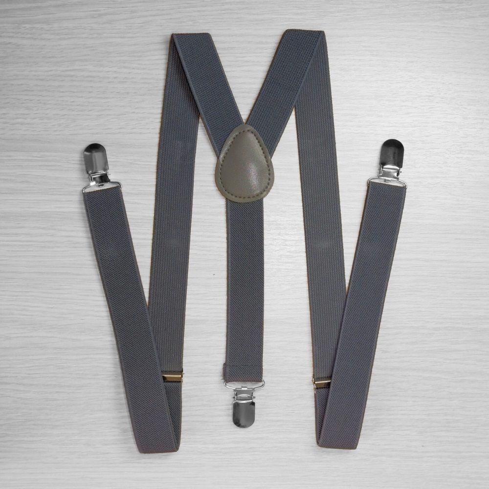 Pants Suspenders Narrow (2.5 Cm, 3 Clips, Gray) 50821
