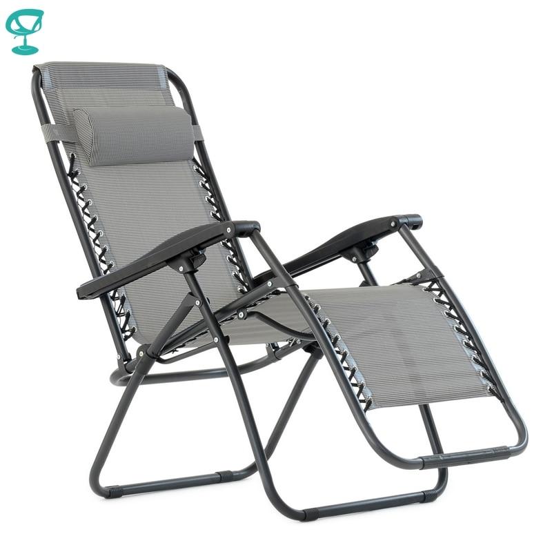 95638 Barneo PFC-14 Gray Folding Reclining Garden Deck Chair Sturdy Tubular Steel Frame HardWearing Textoline Fabric Adjustable