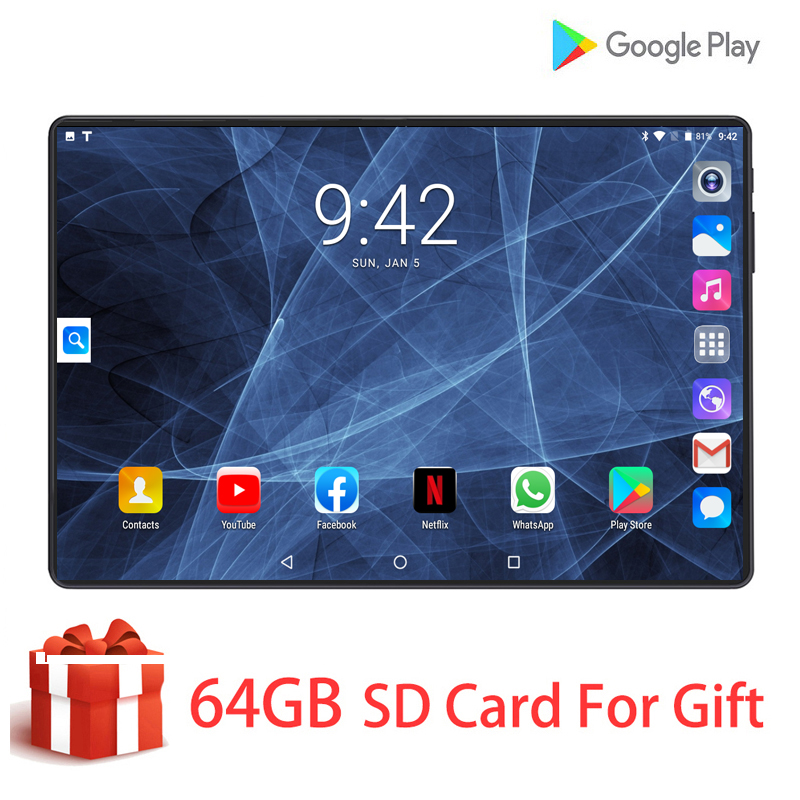 Tablet Android 4G LTE Octa Core 4G LTE Android 9.0 6GB RAM 128GB ROM Wifi GPS Phone Call 10 Inch Glass Screen Tablet Pc 10.1