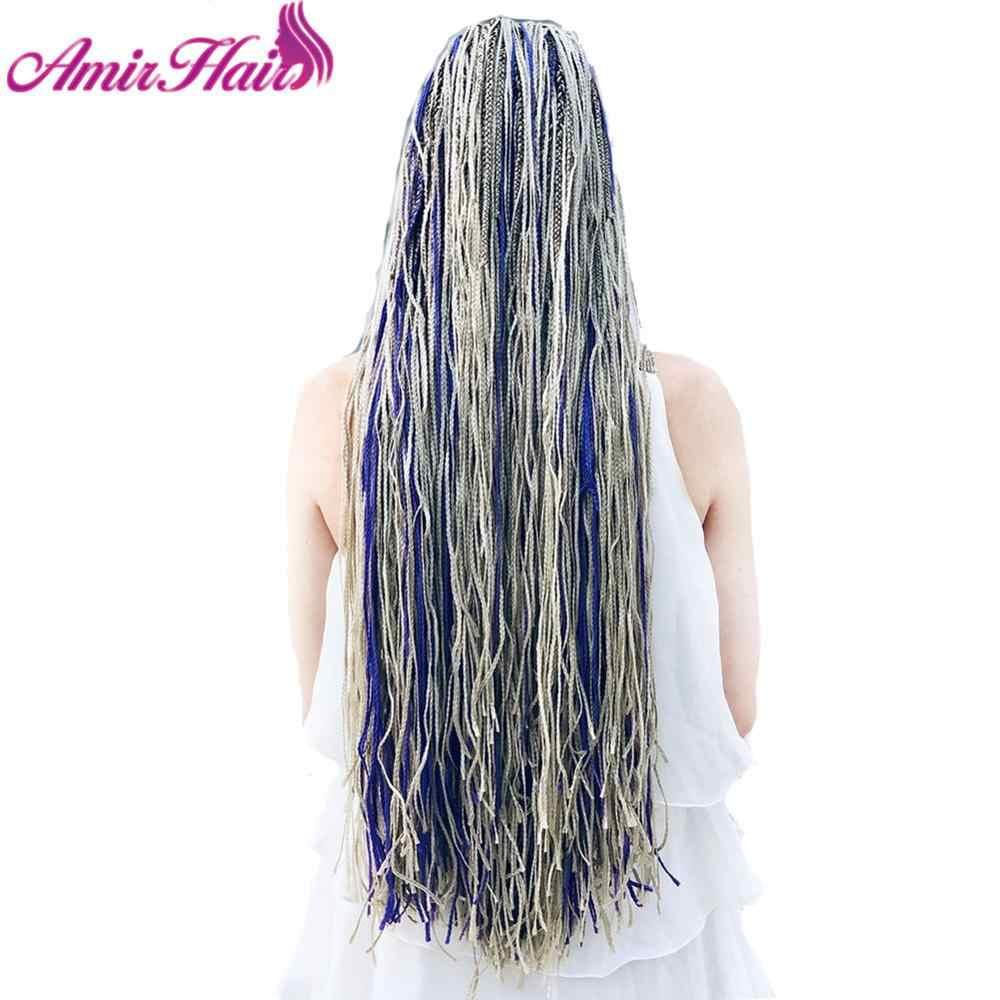 Amir Zizi Vlechten Lange Doos Vlechten Synthetische Gehaakte Vlecht Hair Extensions Roze En Groene Schrijven Grijs Blauw Paars Bruin