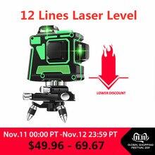 Зеленый лазерный уровень 12 линий 3D уровень самонивелирующийся 360 горизонтальный и вертикальный крест супер мощный зеленый лазерный уровень