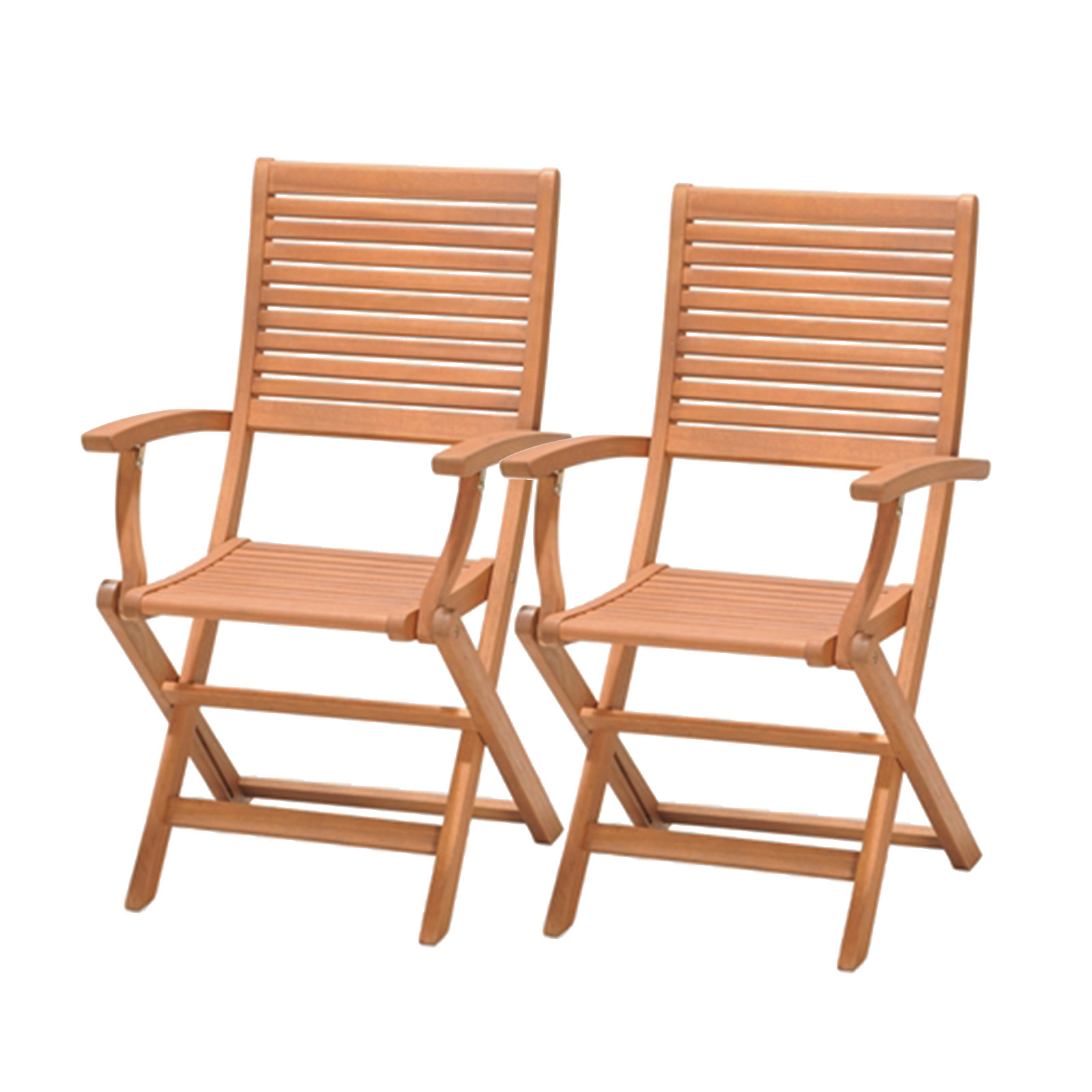 Kingsbury-2 Folding Chairs With Arms Handwork Eucalyptus Wooden 57.70 Cm X 54 Cm.00 X 93.65-4999100100297L