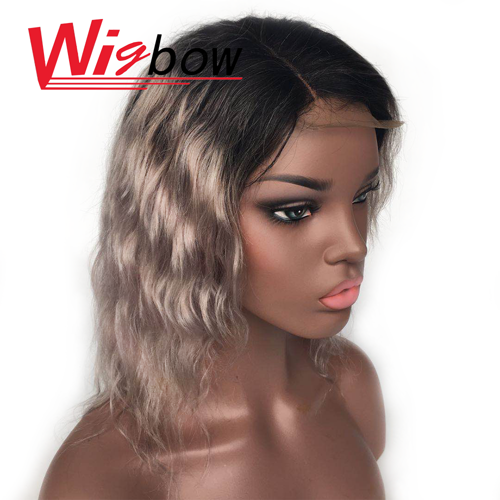 Deep Wave Wig Brazilian Hair Lace Wig Women Human Hair Wig Closure Wig Grey Remy Hair Lace Hairline 16 14 12 Inch Wig  Wigbow