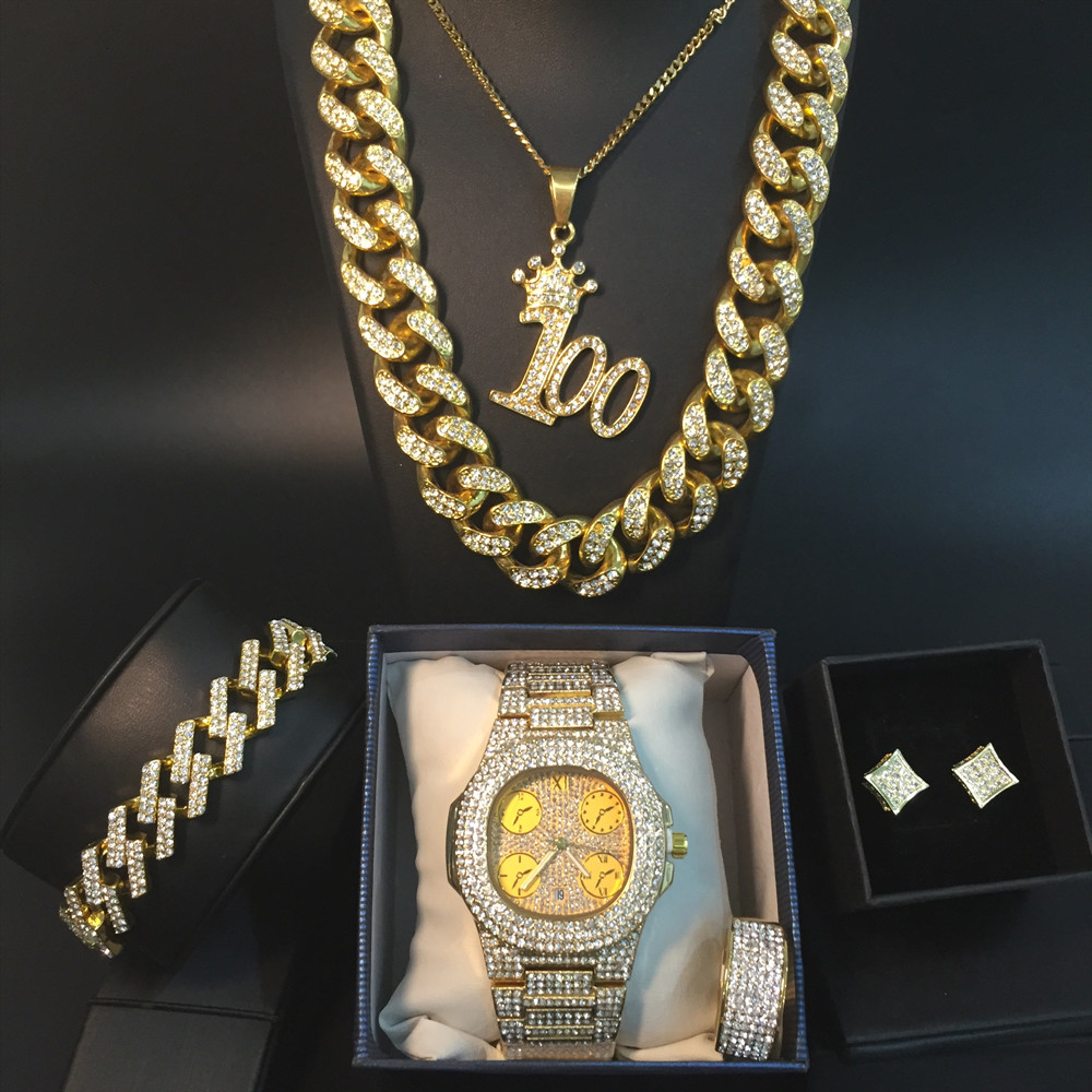 Hip Hop Men Gold Necklace Luxury Men Gold Watch & Necklace & Bracelet &Ring & Earring Combo Set In Crystal Ice Out Cuban Chain