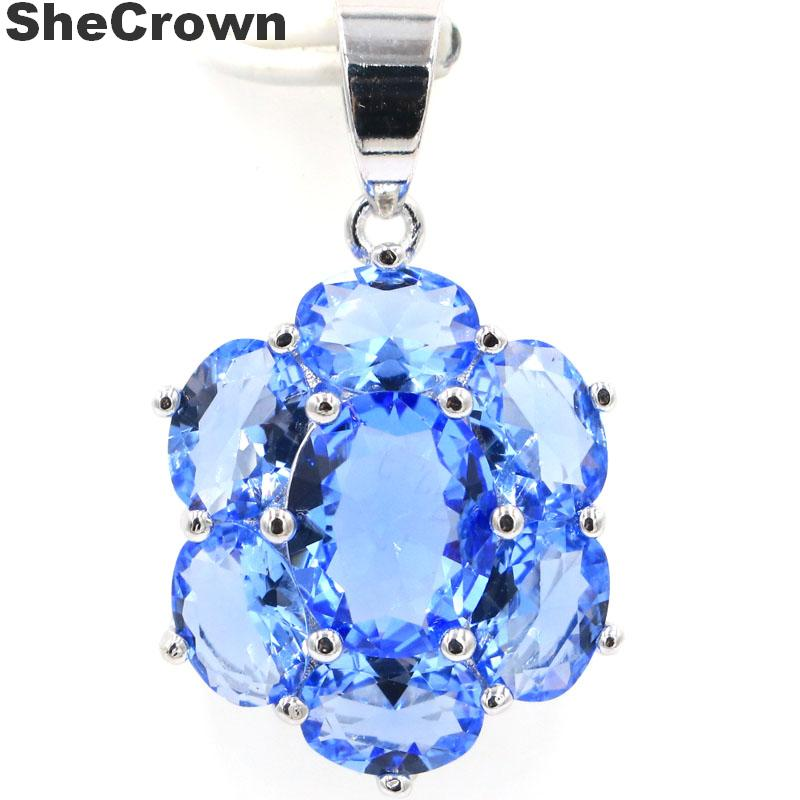 27x17mm SheCrown Created Rich Blue Violet Tanzanite Gift For Sister Silver Pendant