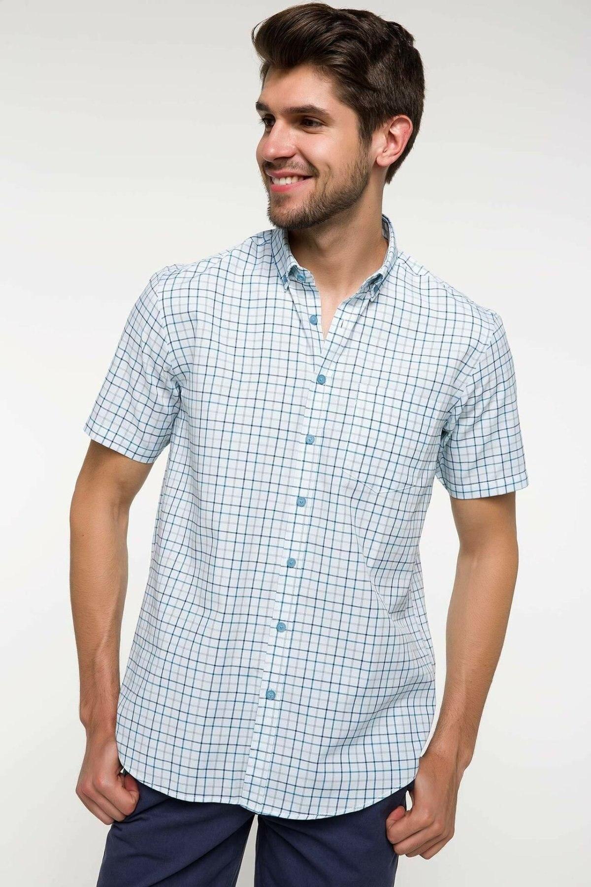 DeFacto Men Fashion Plaid Lapel Collar Shirts Short Sleeve Simple Shirts Men Shirt Tops- I3616AZ18SMGN368-I3616AZ18SM