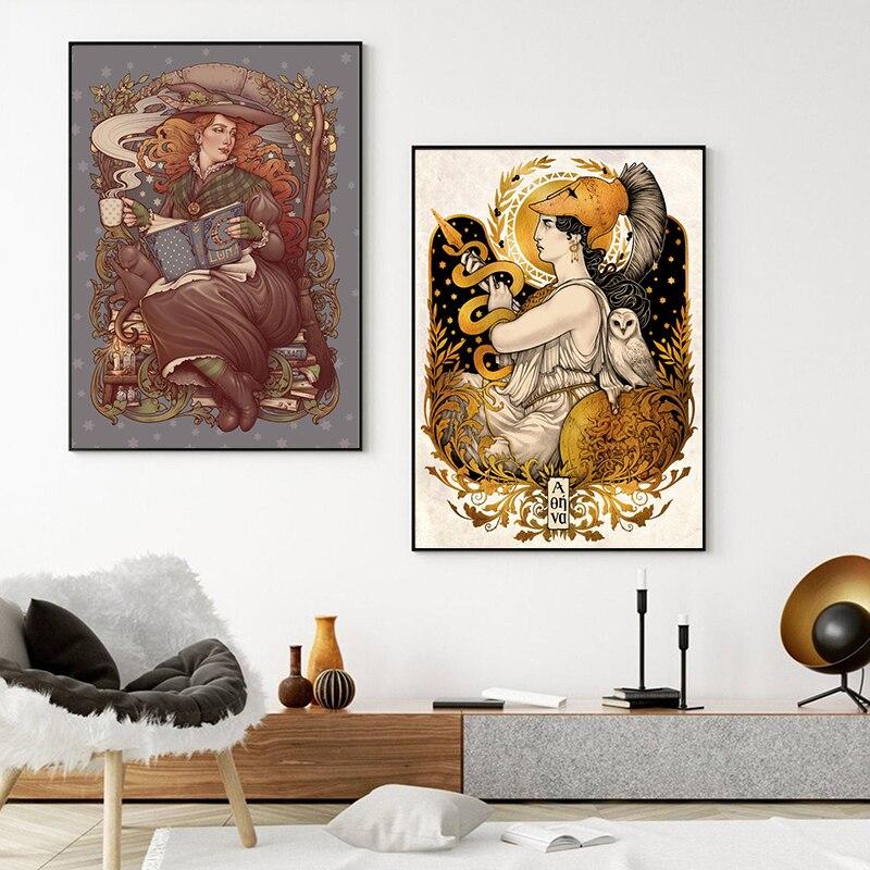 Affiche sur toile Vintage de Medusa, sorcière folklorique, nouvelle collection, décor de maison