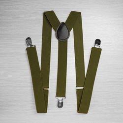 Подтяжки для брюк узкие (2.5 см, 3 клипсы, Зеленый) 50820