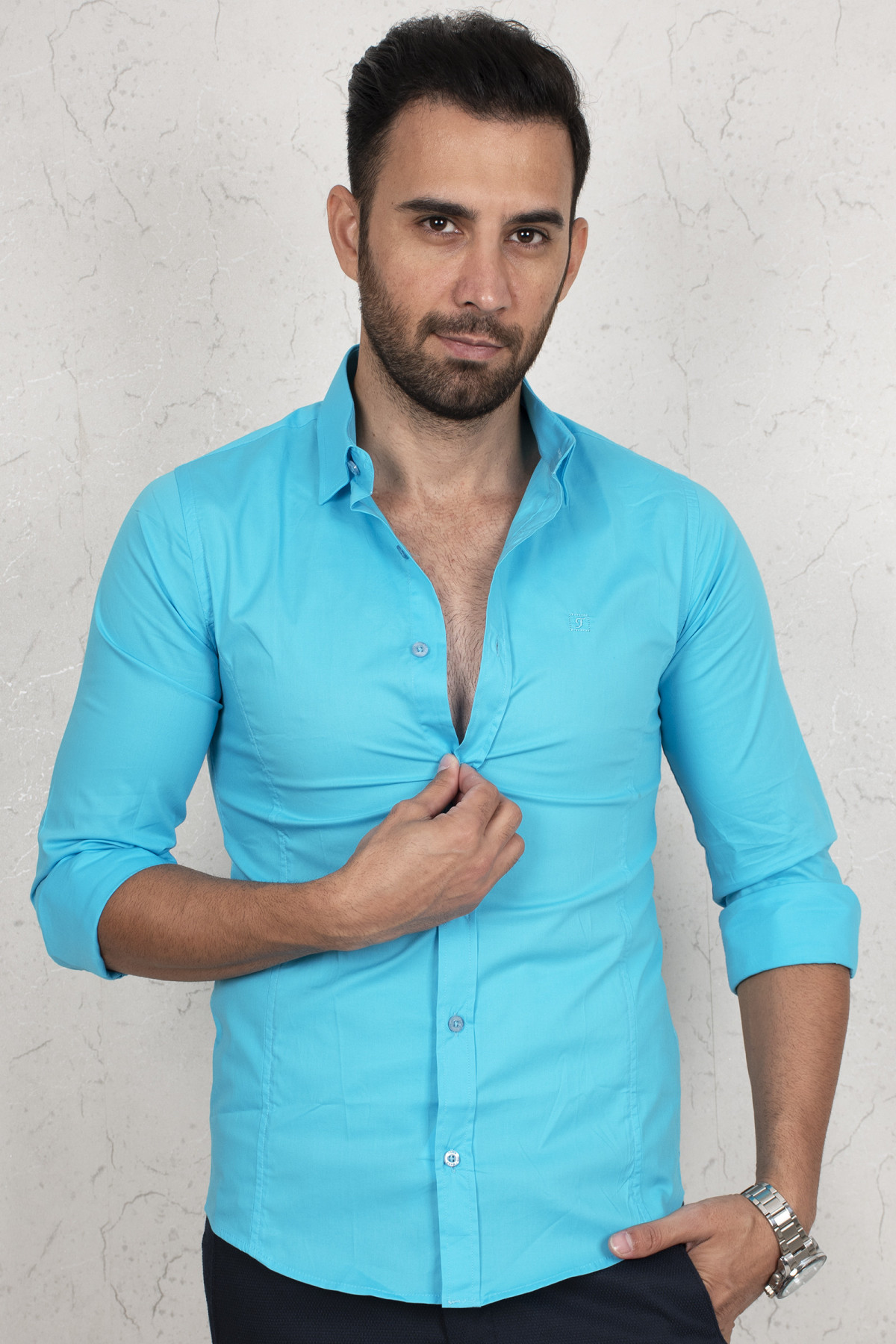 DeepSEA Turquoise Casual Normal Mould Men Shirt 100 Cotton Long Sleeve Casual Special Day Party Business Four Seasons Casual clothing 2004447