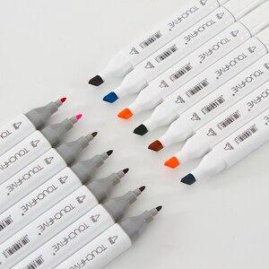 Image 2 - 30 40 60 80 168 色 Touchfnew マーカーブラシペン絵画永久マーカーためスケッチデュアルブラシ先端オイルベースのペン