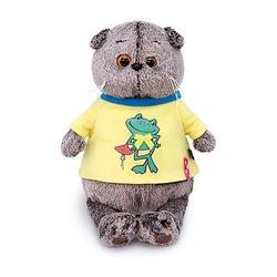 Soft toy Budi Basa Kat Basik t-shirt met print Kikker, 19 cm