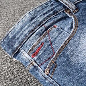 Image 5 - Italian Style Fashion Men Jeans High Quality Retro Blue Ripped Denim Long Trousers Elastic Slim Fit Vintage Designer Pants Homme