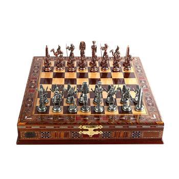 Jeu d'échecs en cuivre  figurines pharaon égyptien, pièces en métal massif faites à la main, échiquier en bois massif naturel, rangement à l'intérieur 1