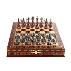 Ägypten Pharao Antike Kupfer Figuren Metall Schach Set, Handgemachte Stück, Natürliche Solide Holz Schach Bord, lagerung Innen König 9 cm