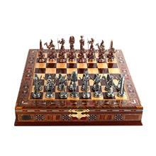 Набор медных фигурок Фараона из Египта, набор шахматных фигур ручной работы, шахматная доска из натурального массива дерева, хранилище внут...